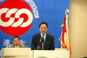 Secretary General Hatoyama of Democratic Party of Japan makes a speech
