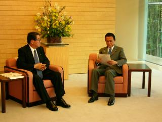 President TAKAGI met with Prime Minister ASO (right)